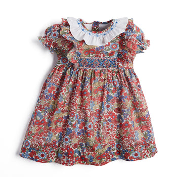 Red Floral Handsmocked Dress with Frill Collar - Dress - PEPA AND CO