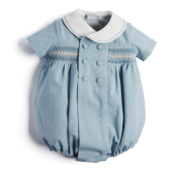 Classic Blue Handsmocked Romper - Romper - PEPA AND CO