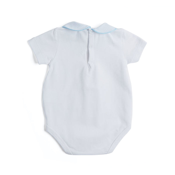 Cotton Bodysuit with Striped Peter Pan Collar - WOVEN BODYSUIT - PEPA AND CO