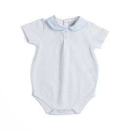 Cotton Bodysuit with Striped Peter Pan Collar - BODYSUIT - PEPA AND CO