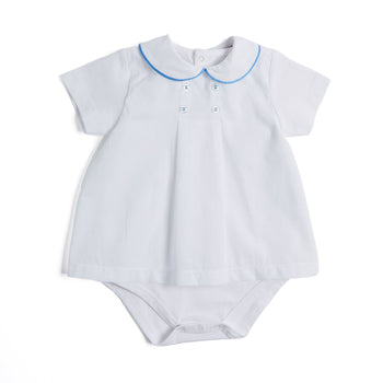 Cotton Bodysuit with Blue Trim Collar - Bodysuit - PEPA AND CO