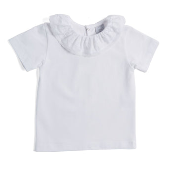 White Jersey Top with Poplin Collar - TOP - PEPA AND CO
