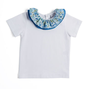 White Jersey Top with Blue Floral Collar - Top - PEPA AND CO