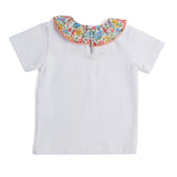 White Jersey Top with Liberty Floral Collar - Top - PEPA AND CO
