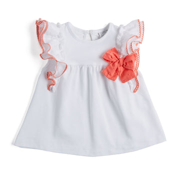 Classic White Cotton Top with Ruffles - TOP - PEPA AND CO