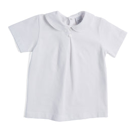 White Jersey Top with Button Detailing - TOP - PEPA AND CO