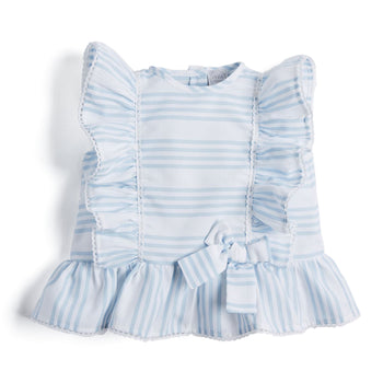 Blue Striped Frill Blouse - BLOUSE - PEPA AND CO