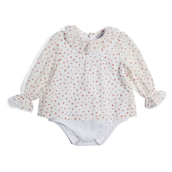 Cotton Bodysuit with Floral Blouse Overlay - Blouse - PEPA AND CO