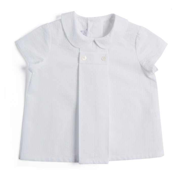 White Striped Shirt with Peter Pan Collar - SHIRTS - PEPA AND CO