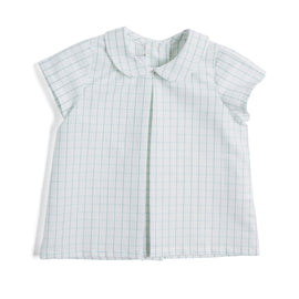 Green Checked Shirt with Peter Pan Collar - Shirt - PEPA AND CO