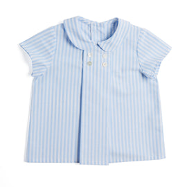 Blue Striped Shirt with Peter Pan Collar - SHIRT - PEPA AND CO