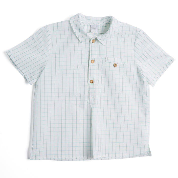 Classic Green Checked Short Sleeve Shirt - SHIRTS - PEPA AND CO