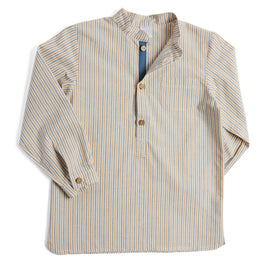 Mustard Striped Mandarin Long Sleeve Shirt - Shirt - PEPA AND CO