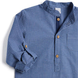 Navy Striped Mandarin Long Sleeve Shirt - Shirt - PEPA AND CO