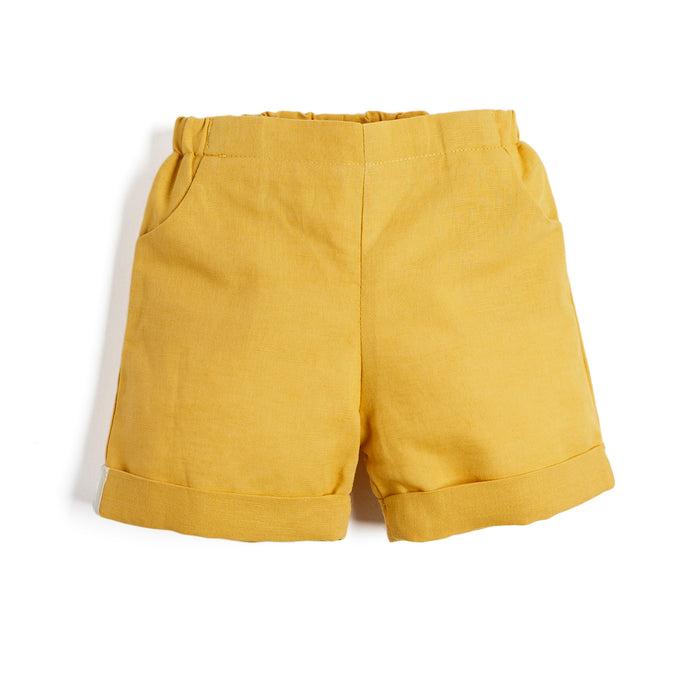Baby Boys' Mustard Cotton Shorts - Shorts - PEPA AND CO