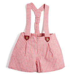 Red Striped Shorts with Braces - Shorts - PEPA AND CO