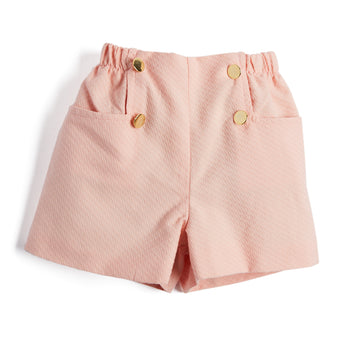 Tailored Pink Shorts with Button Detailing - Shorts - PEPA AND CO