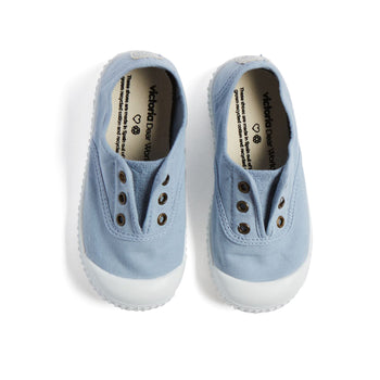Dusky Blue Canvas Plimsolls - Shoes - PEPA AND CO
