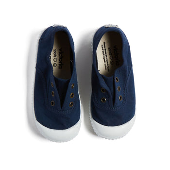 Navy Canvas Plimsolls - Shoes - PEPA AND CO