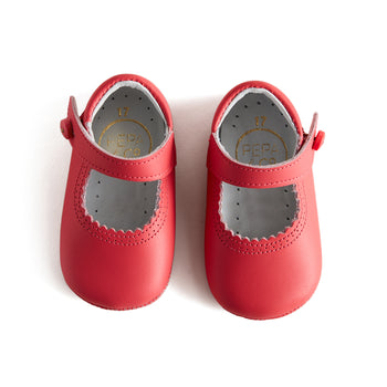 Mary Jane Coral Leather Pram Shoes - Shoes - PEPA AND CO