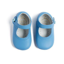Mary Jane Pale Blue Leather Pram Shoes - Shoes - PEPA AND CO