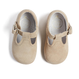 T-Bar Beige Suede Baby Shoes - Shoes - PEPA AND CO