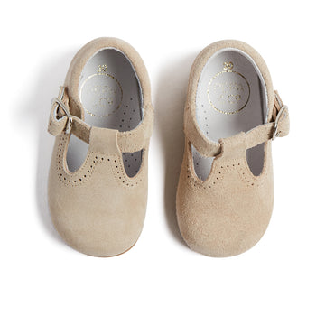 T-Bar Beige Leather Baby Shoes - T-BAR - PEPA AND CO