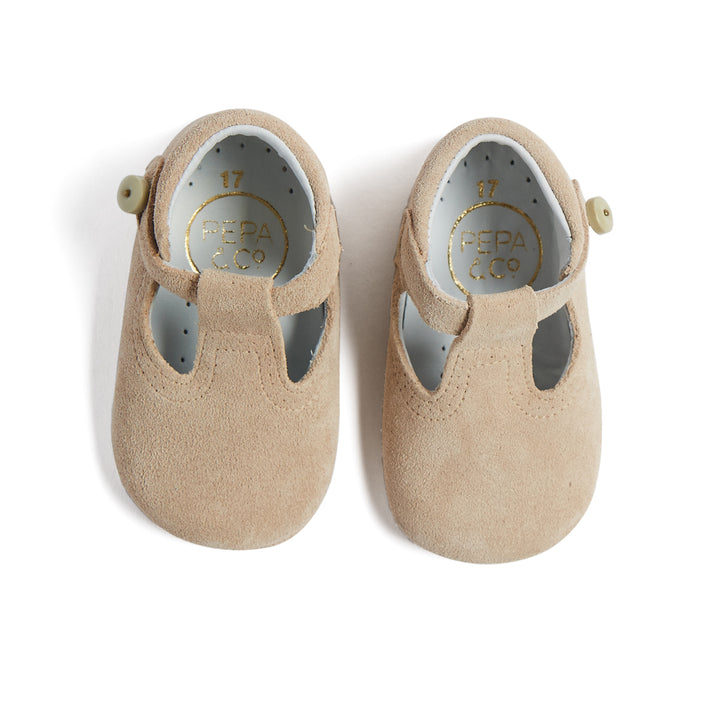 T-Bar Beige Suede Pram Shoes - PRAM T-BAR - PEPA AND CO