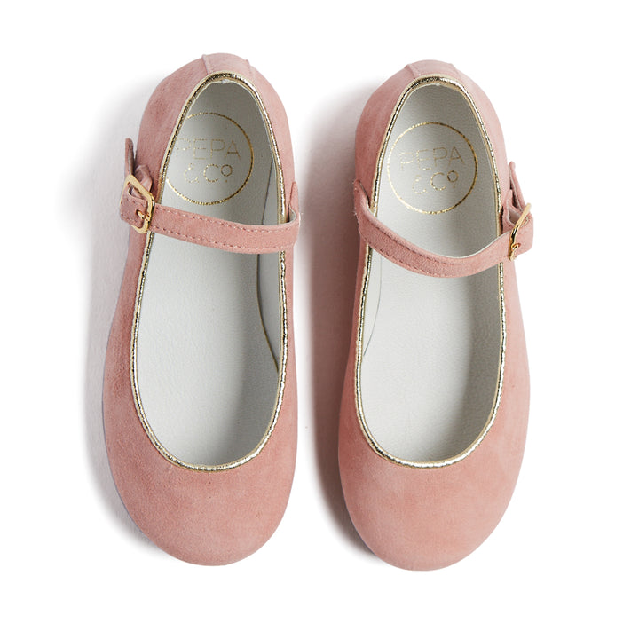 Girls Suede Pink Mary-Jane Shoes - MARY JANE - PEPA AND CO