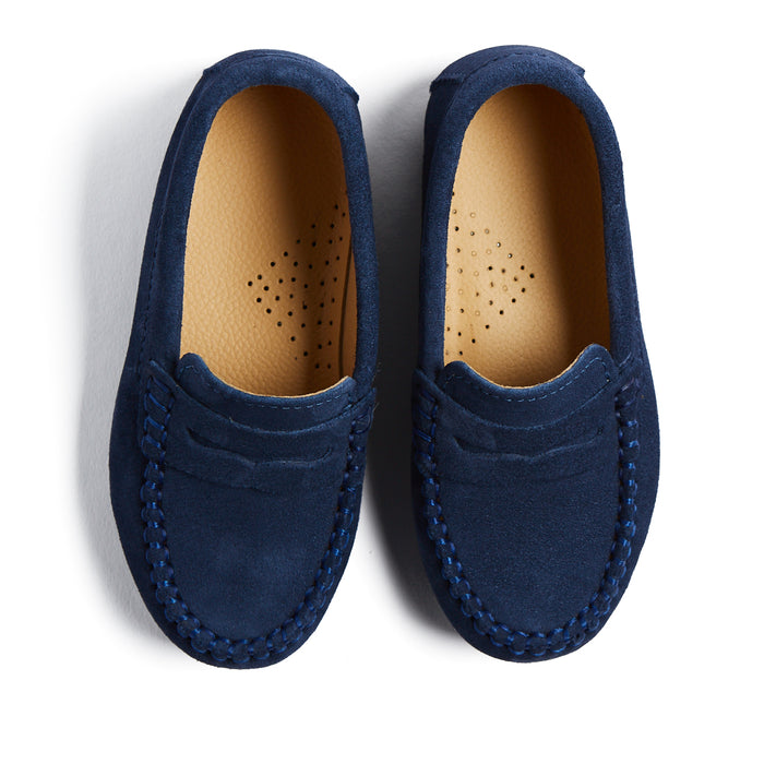 Suede Blue Loafers - SHOES - PEPA AND CO