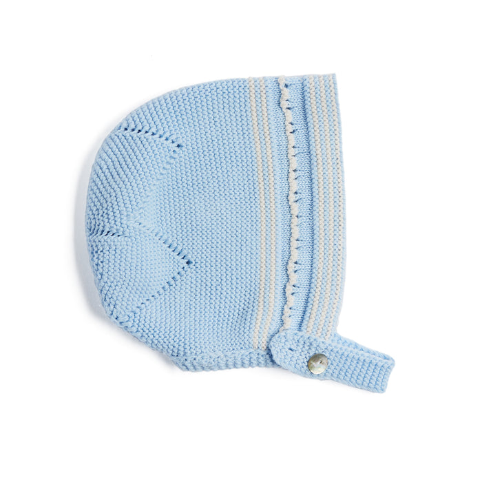 Blue Striped Cotton Bonnet - Knitted Acc - PEPA AND CO