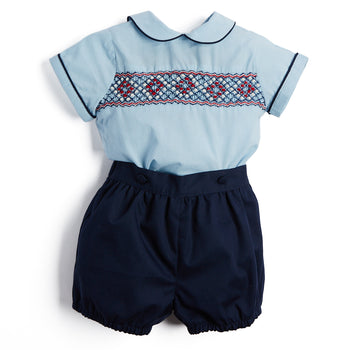 Navy Handsmocked Shirt & Bloomer Set - Set - PEPA AND CO