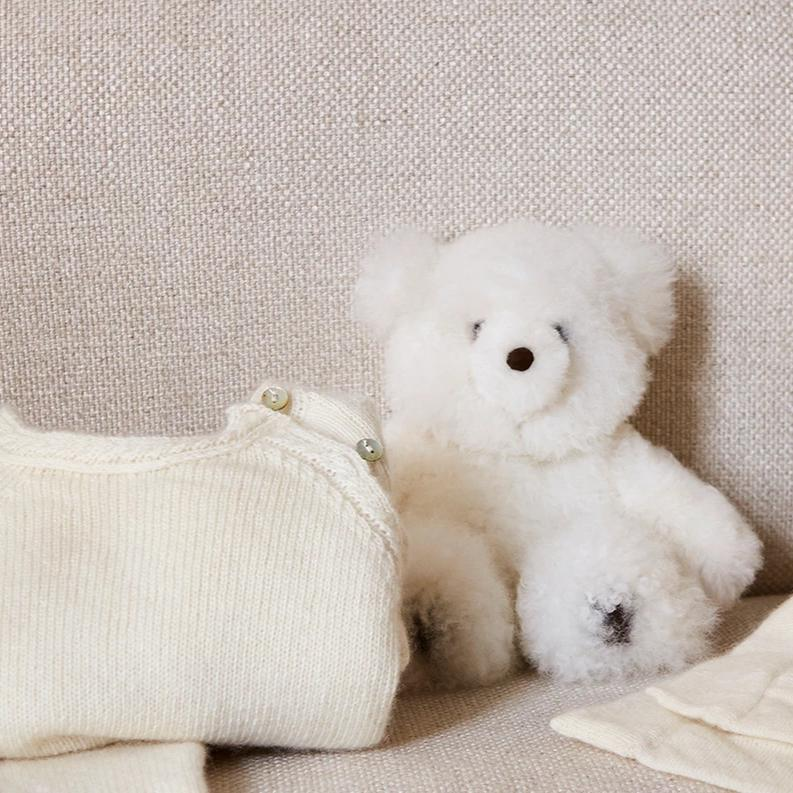 White Teddy Bear (100% Alpaca Fur) - Toy - PEPA AND CO