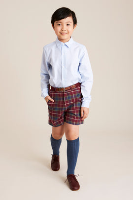 Boys Classic Burgundy Checked Shorts - SHORT - PEPA AND CO