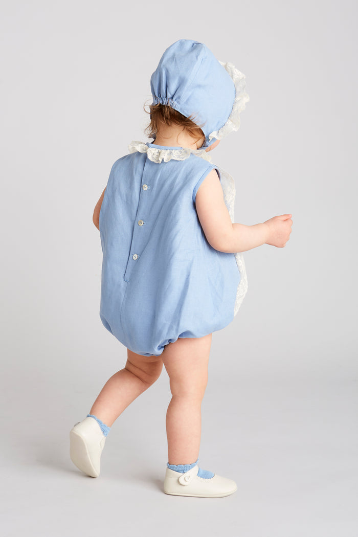 Delicate Blue Linen Romper with Lace - ROMPER - PEPA AND CO