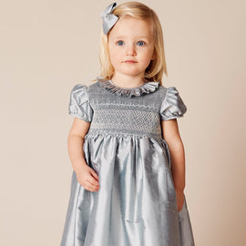 Girls Silk Smocked Celebration Dress in Blue - Dress - PEPA AND CO