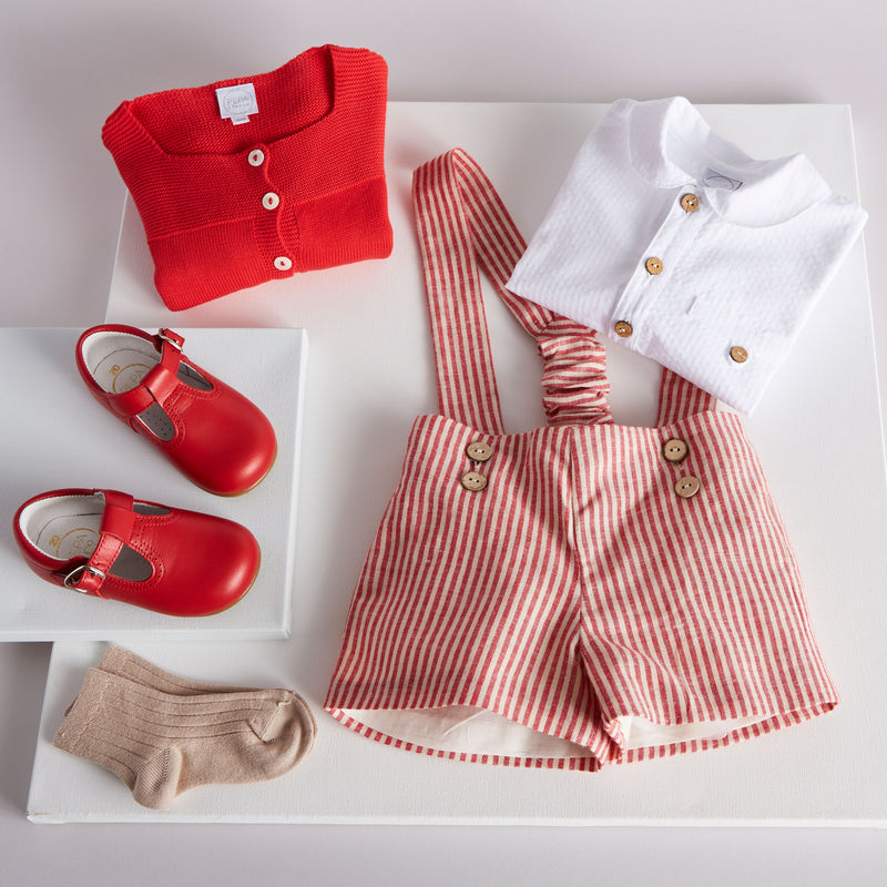 Classic White Striped Cotton Shirt with Peter Pan Collar - Shirt - PEPA AND CO