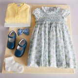 Blue & Yellow Floral Handsmocked Cotton Dress - Dress - PEPA AND CO