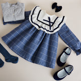 Blue Checked Dress with Ruffle Detailing - DRESS - PEPA AND CO