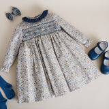 Classic Blue Floral Handsmocked Cotton Dress - DRESS - PEPA AND CO