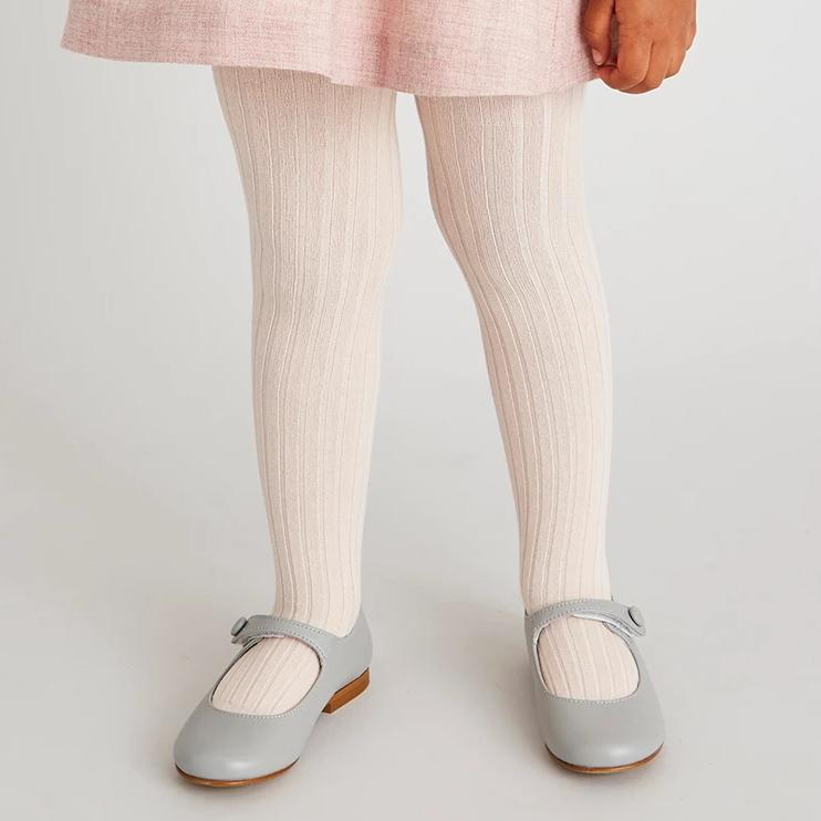 Light Pink Ribbed Tights - Tights - PEPA AND CO