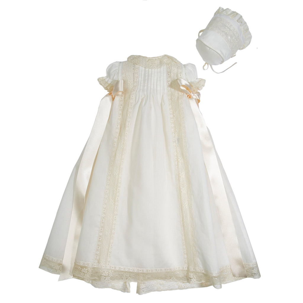 Bespoke Christening Gown with Side Satin Sash and Bonnet - Made to order - PEPA AND CO