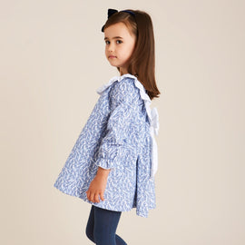 Blue Paisley Dress with Frill Detailing - DRESS - PEPA AND CO