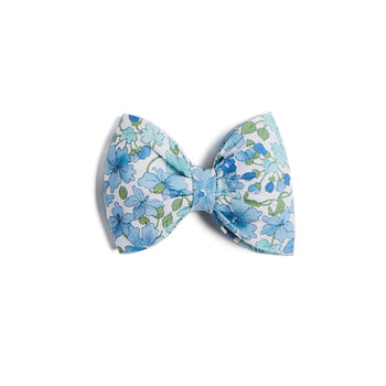 Blue Floral Big Bow Clip - Hair Accessories - PEPA AND CO