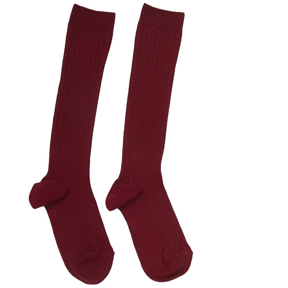 Burgundy Ribbed Knee-High Socks - Socks - PEPA AND CO