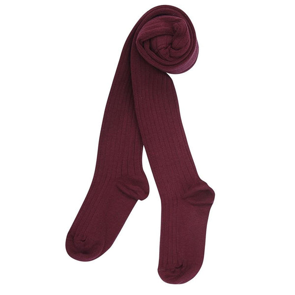 Children's Ribbed Tights - Burgundy