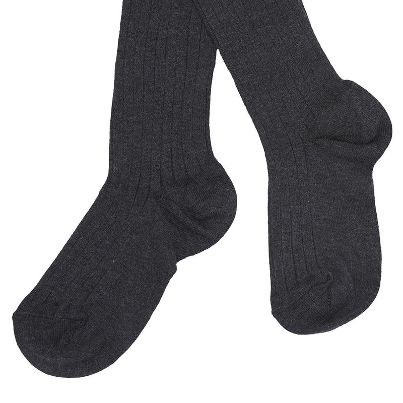 Dark Grey Ribbed Knee-High Socks - Socks - PEPA AND CO