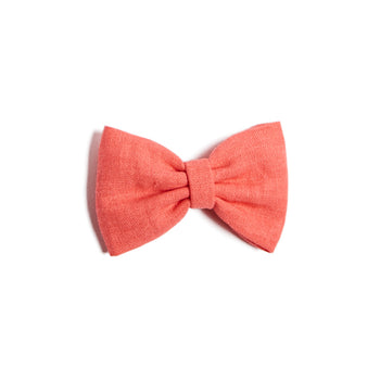 Coral Linen Big Bow Clip - Hair Accessories - PEPA AND CO