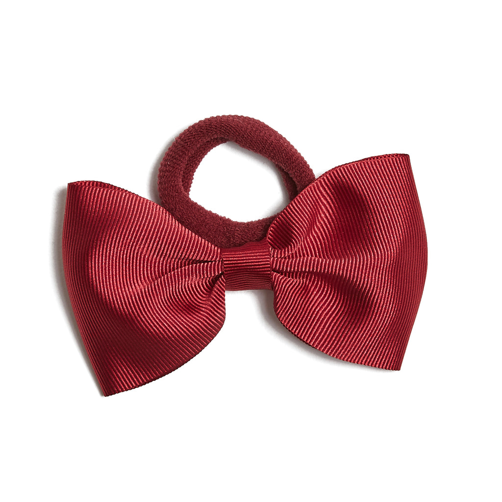 Burgundy Medium Bow Hair Tie - Hair Accessories - PEPA AND CO