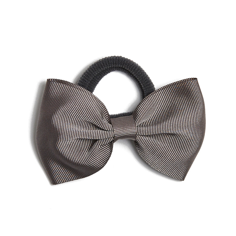 Dark Grey Medium Bow Hair Tie - Hair Accessories - PEPA AND CO